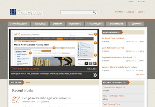 Example Intranet Landing Page